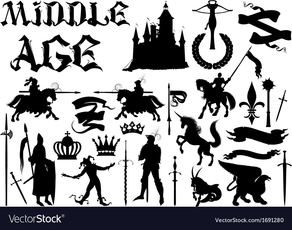 Silhouettes and icons on the medieval theme