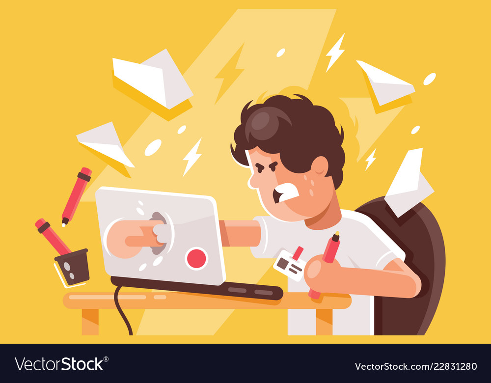 Stressed angry young man crashed laptop at work