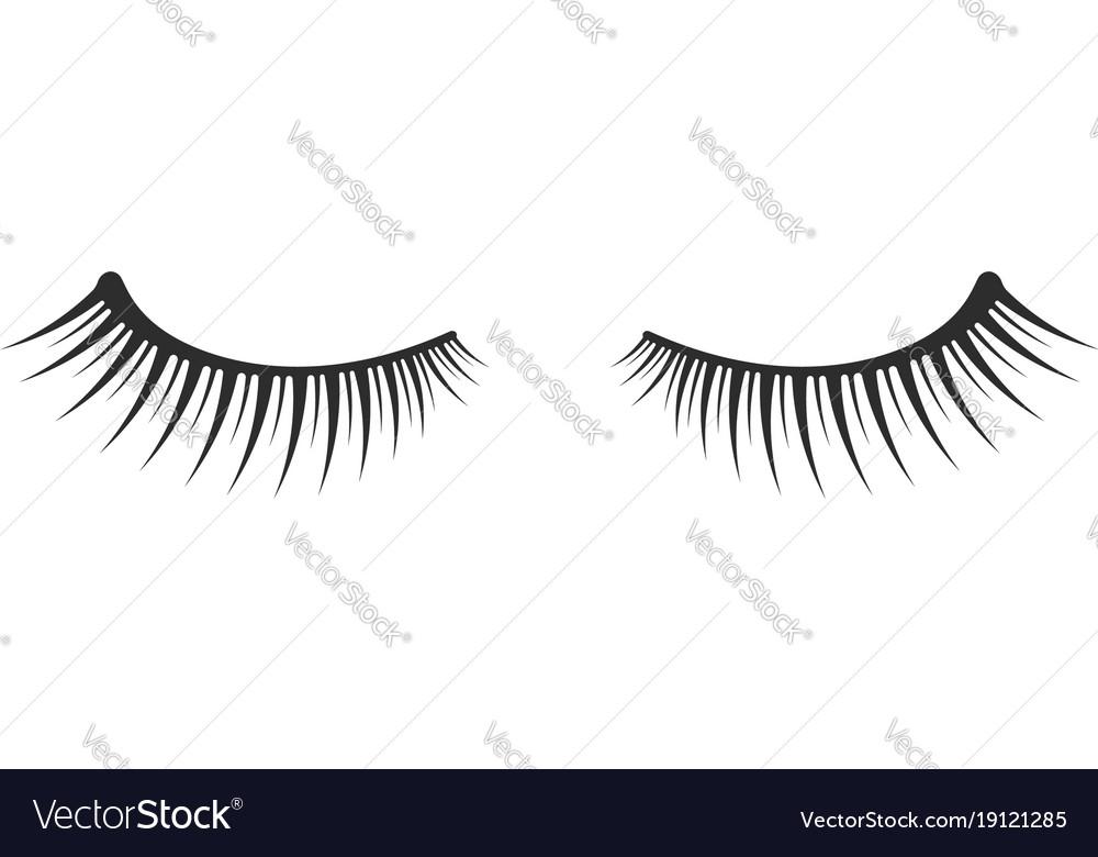 Black two eyelashes extension icon on white
