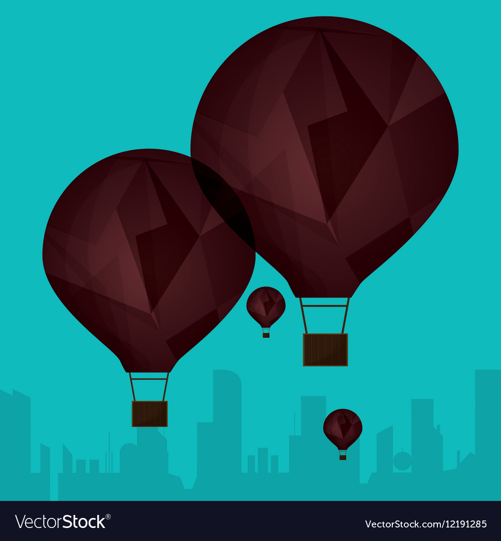 Collection brown airballoons fyling silhouette