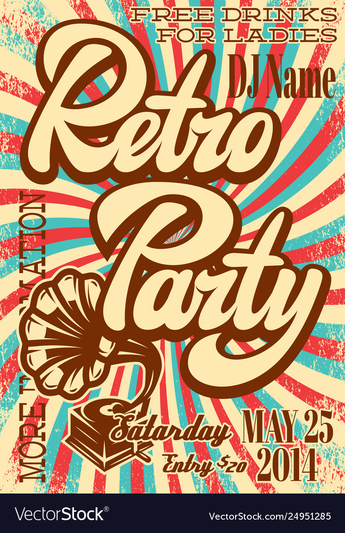Color retro poster template for party