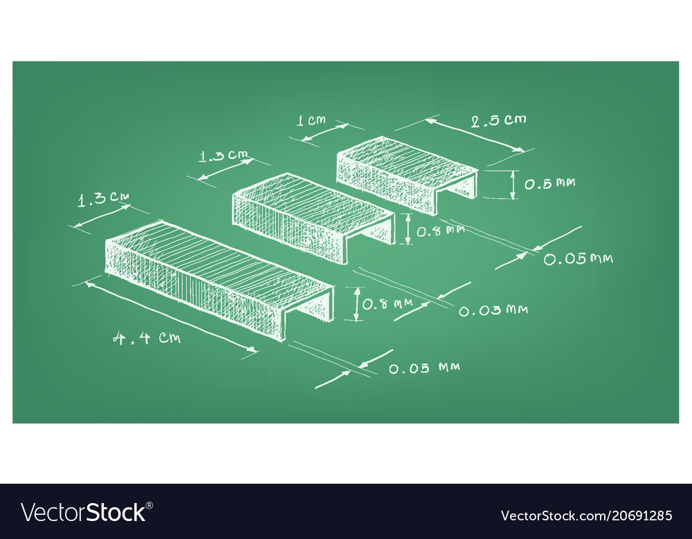 Dimension of staple strip or paper staples vector image malvernweather Image collections