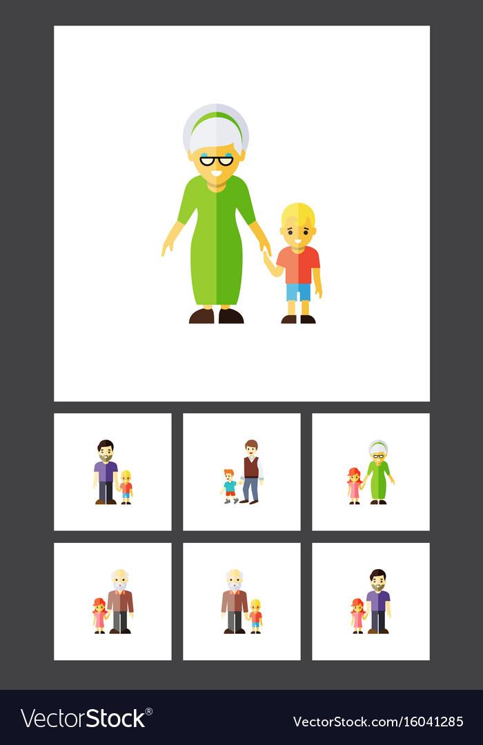 Flat icon people set of grandpa grandson grandma