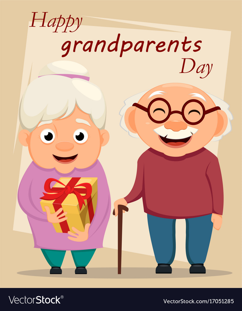 Grandparents Day Greeting Card Grandmother And Vector Image