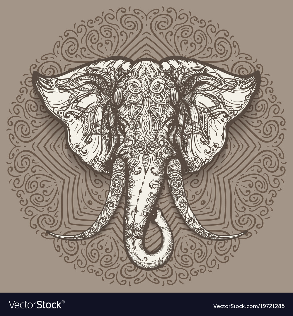 d8d0bbfdcc15e Hand drawn elephant head on mandala background Vector Image