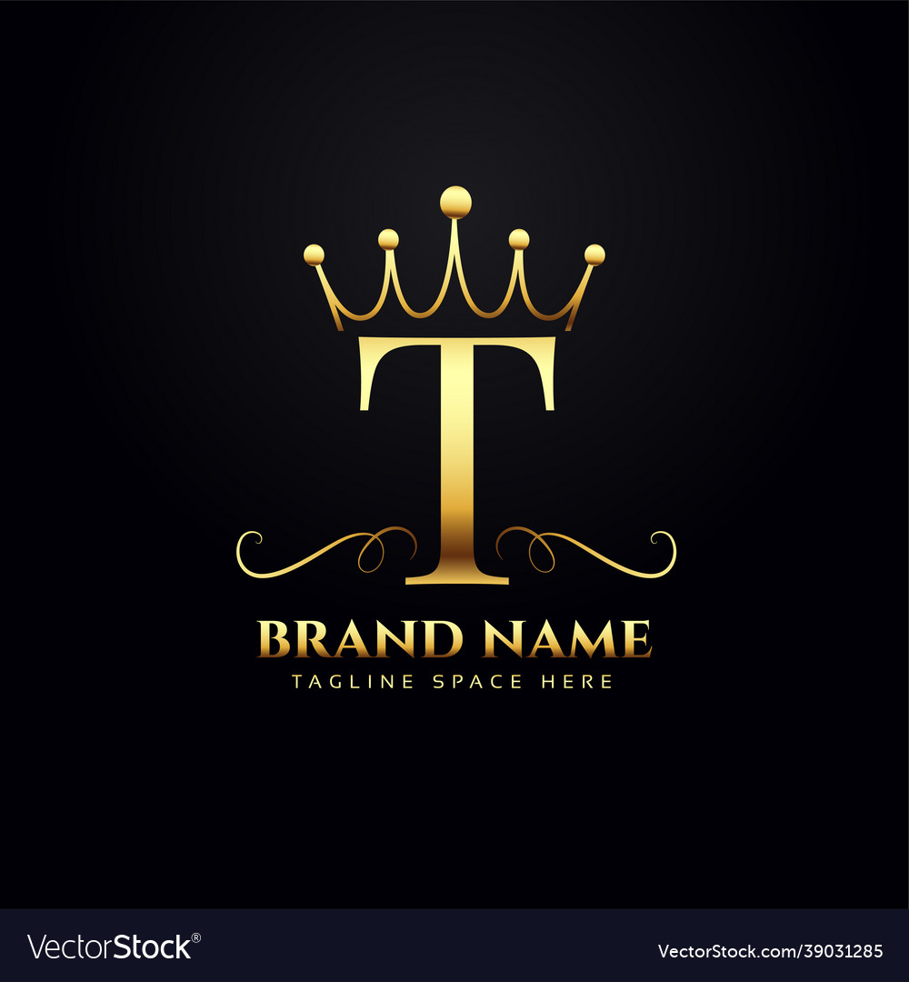 Letter t logo concept with golden crown