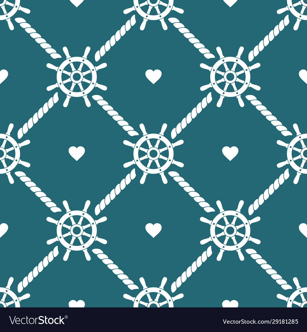 Ship steering wheels and hearts seamless pattern