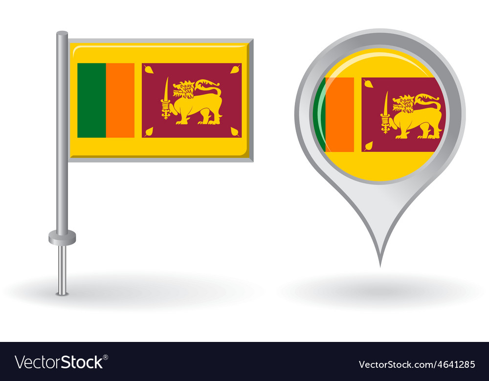 Sri Lanka pin icon and map pointer flag vector image