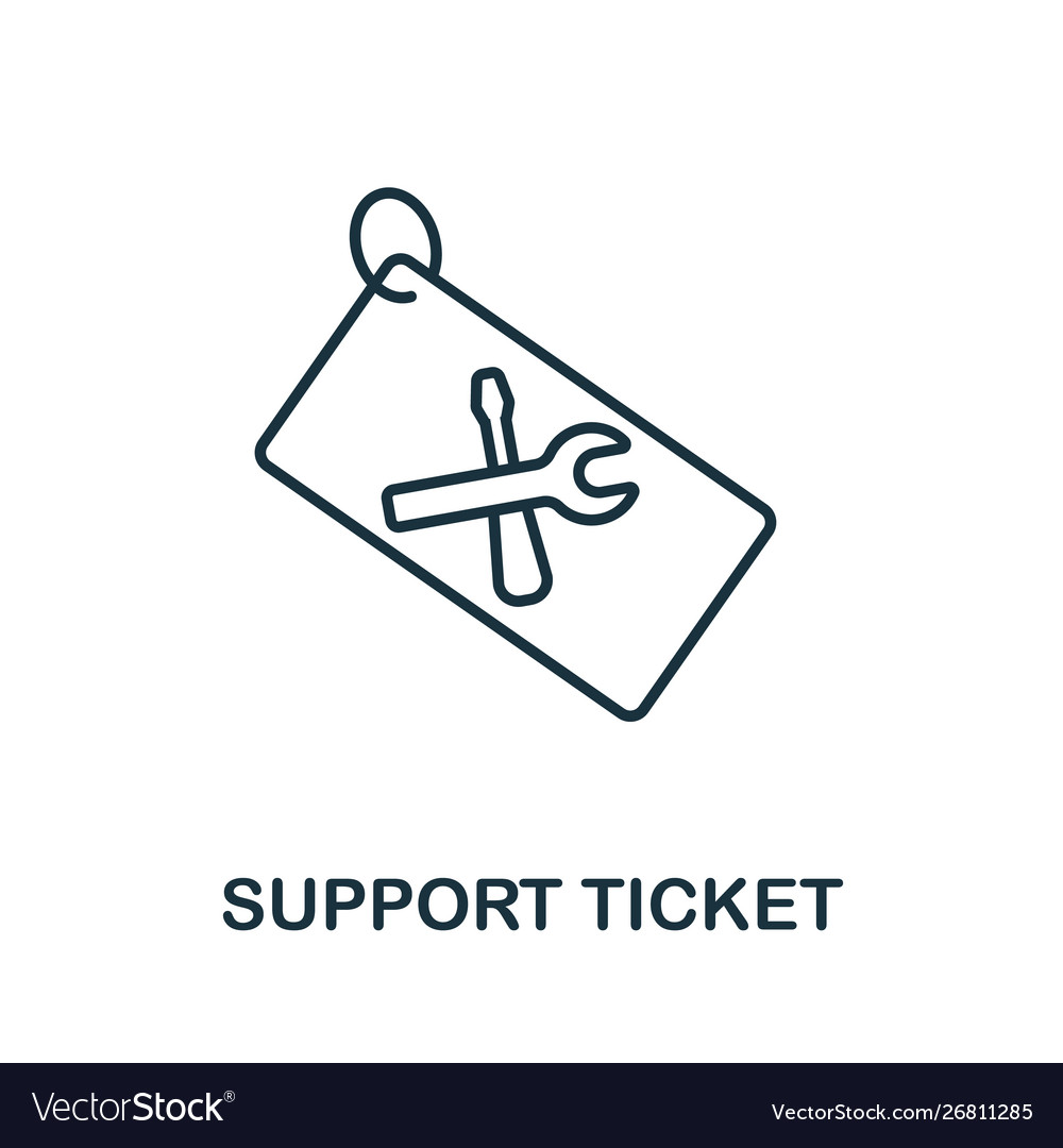 Support ticket icon thin outline style design
