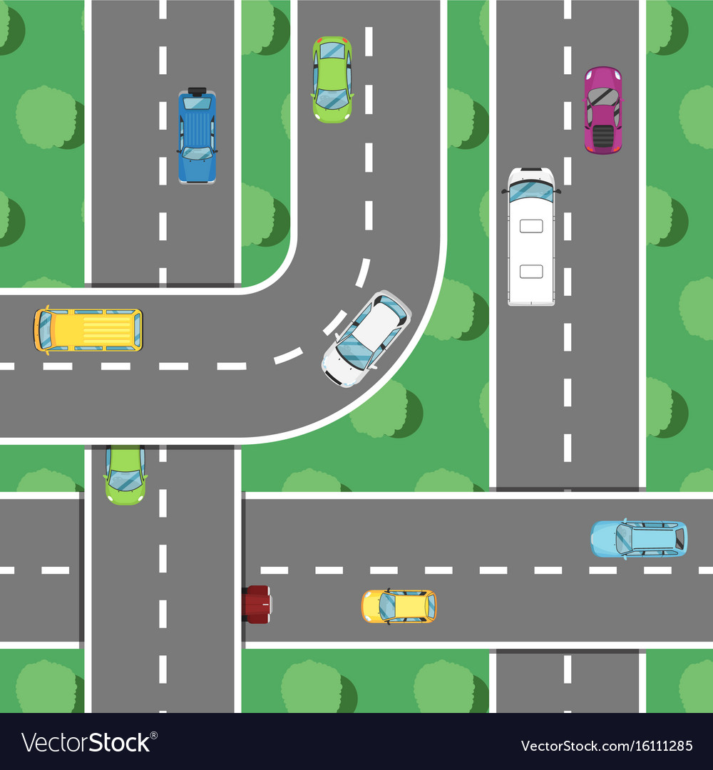 Top view highway traffic in rush hour poster