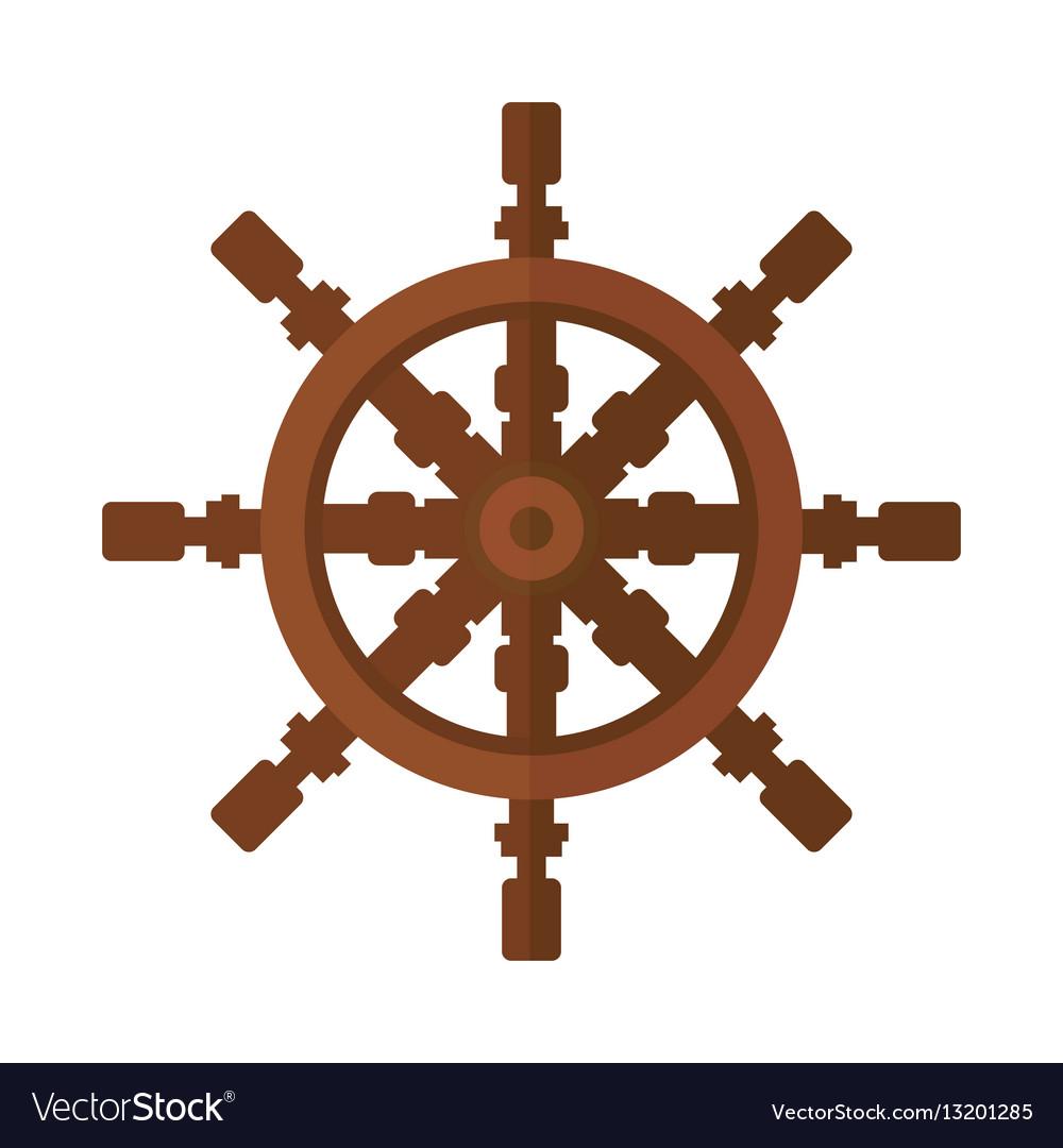 Yacht steering wheel icon vector image