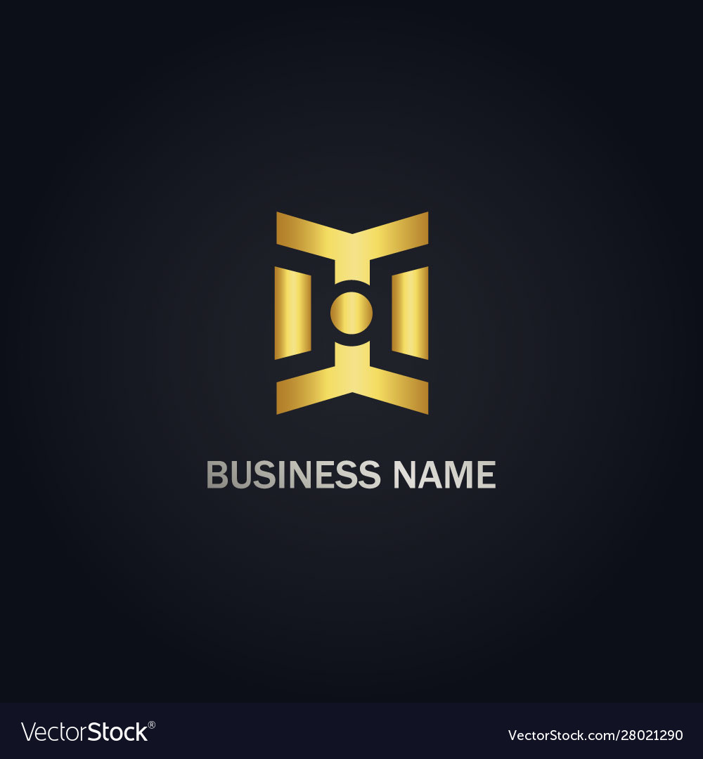 Abstract line geometry gold logo