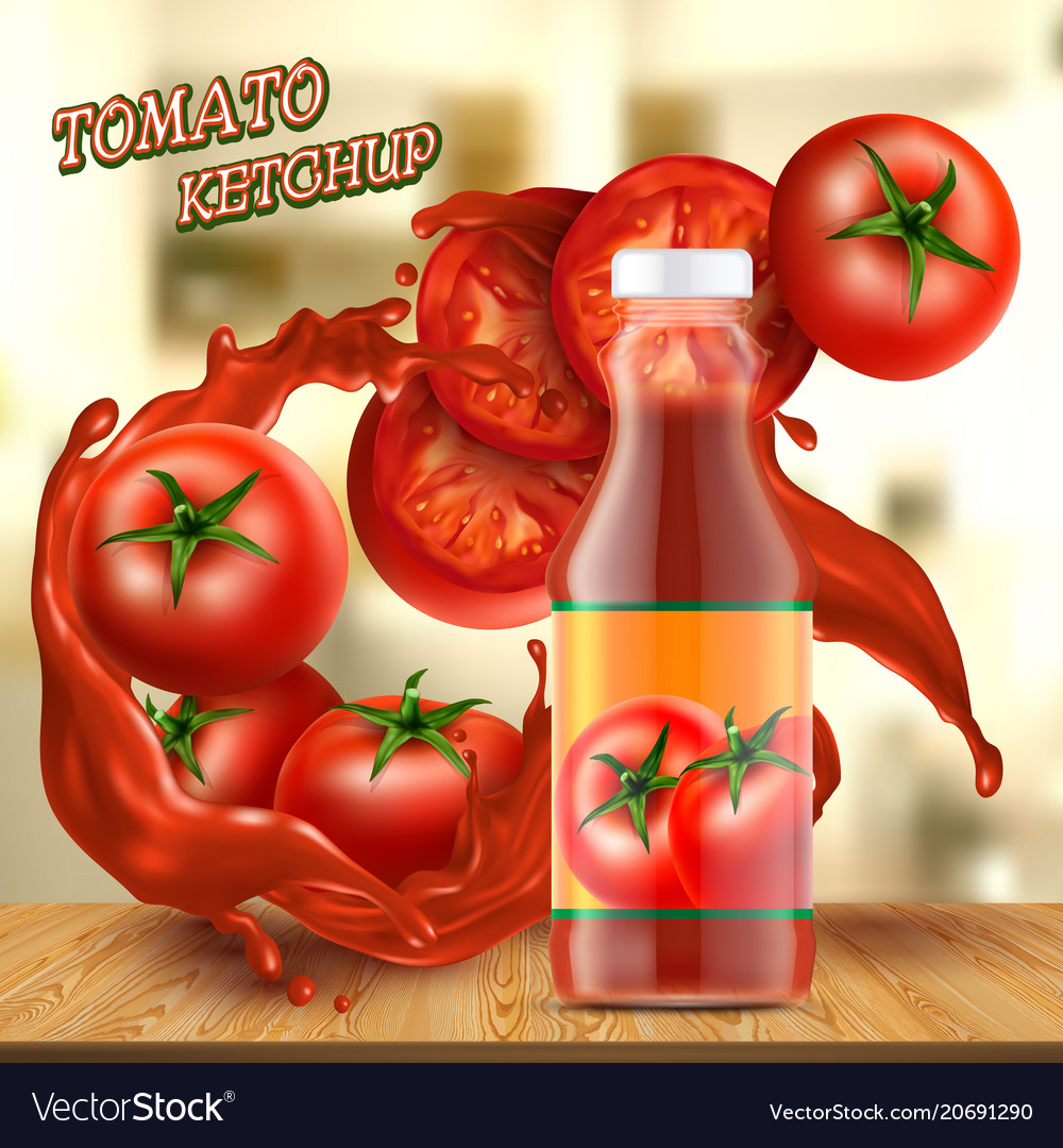 Banner with bottle of ketchup and tomatoes