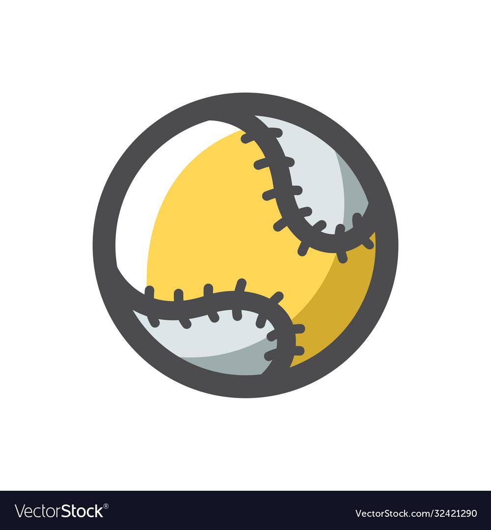 Baseball ball with lacing cartoon