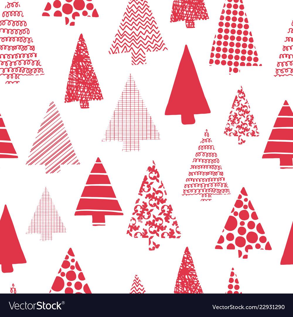 Christmas trees modern seamless pattern