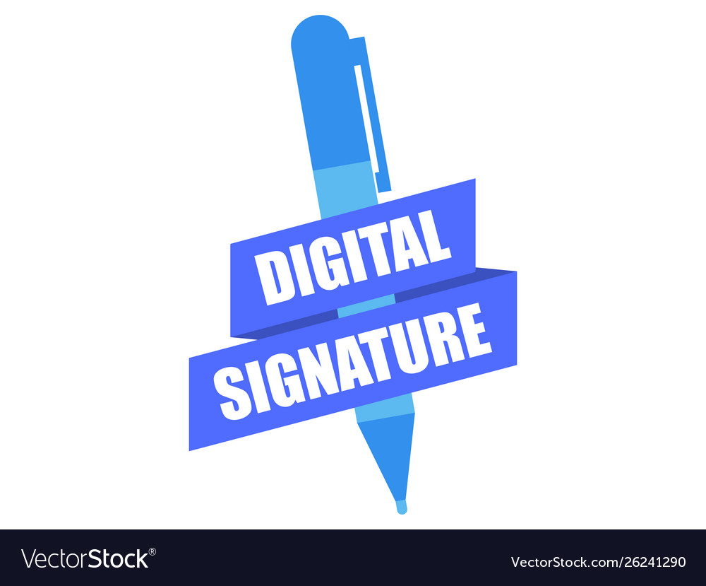 Digital signature pen and ribbon isolated on