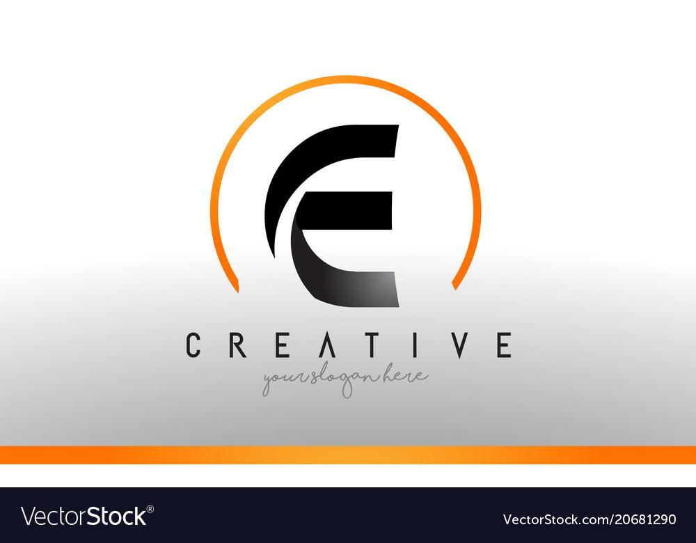 Cool Letter I Logo.E Letter Logo Design With Black Orange Color Cool
