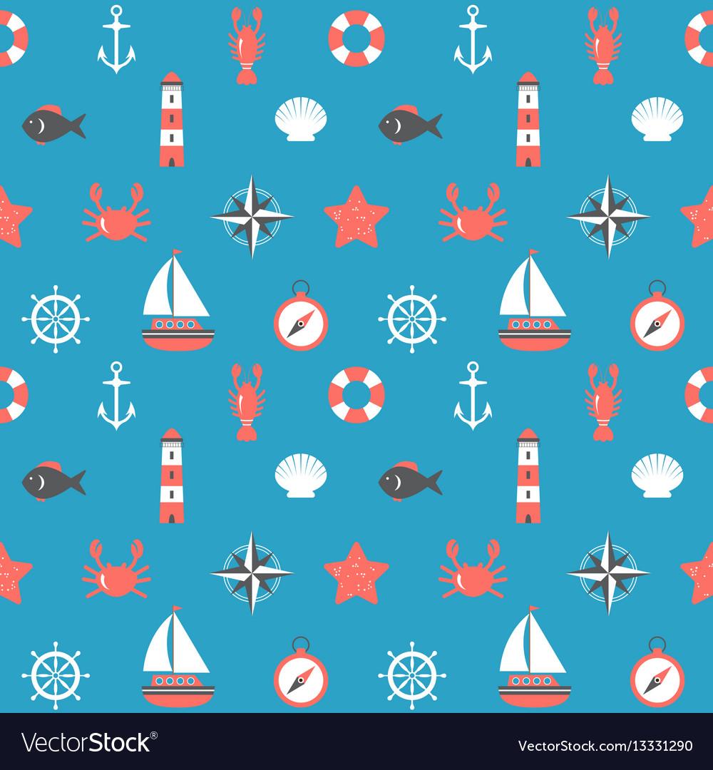 Marine cartoon seamless pattern nautical