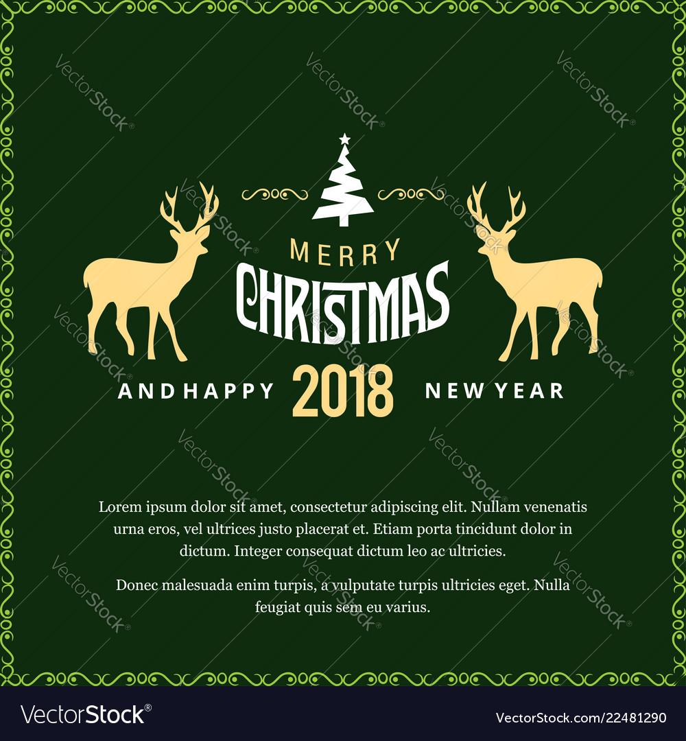 Christmas Greetings.Merry Christmas Greetings Design With Green