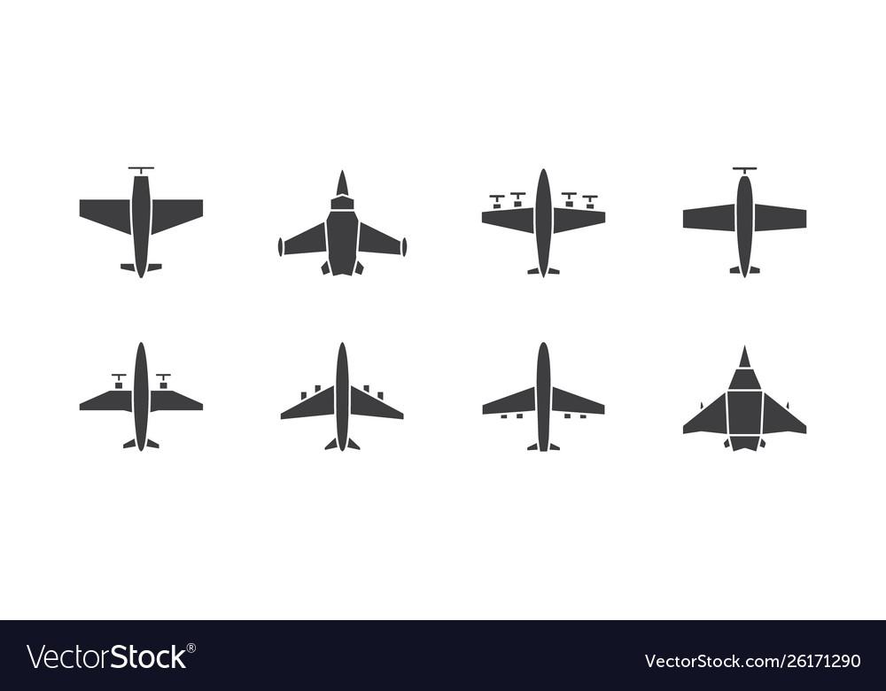 Set different airplane symbols aircraft plane
