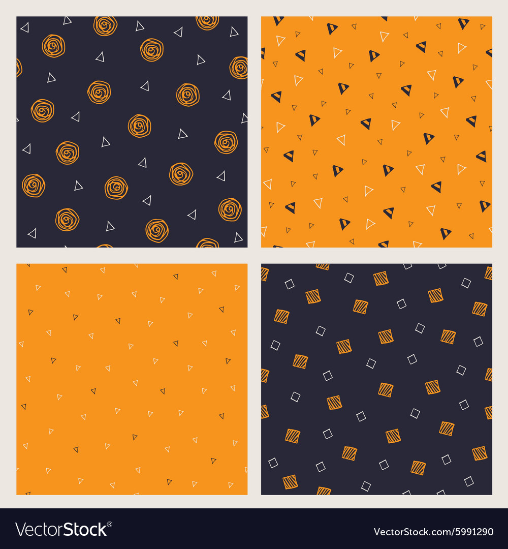 Set of hand drawn Halloween seamless patterns
