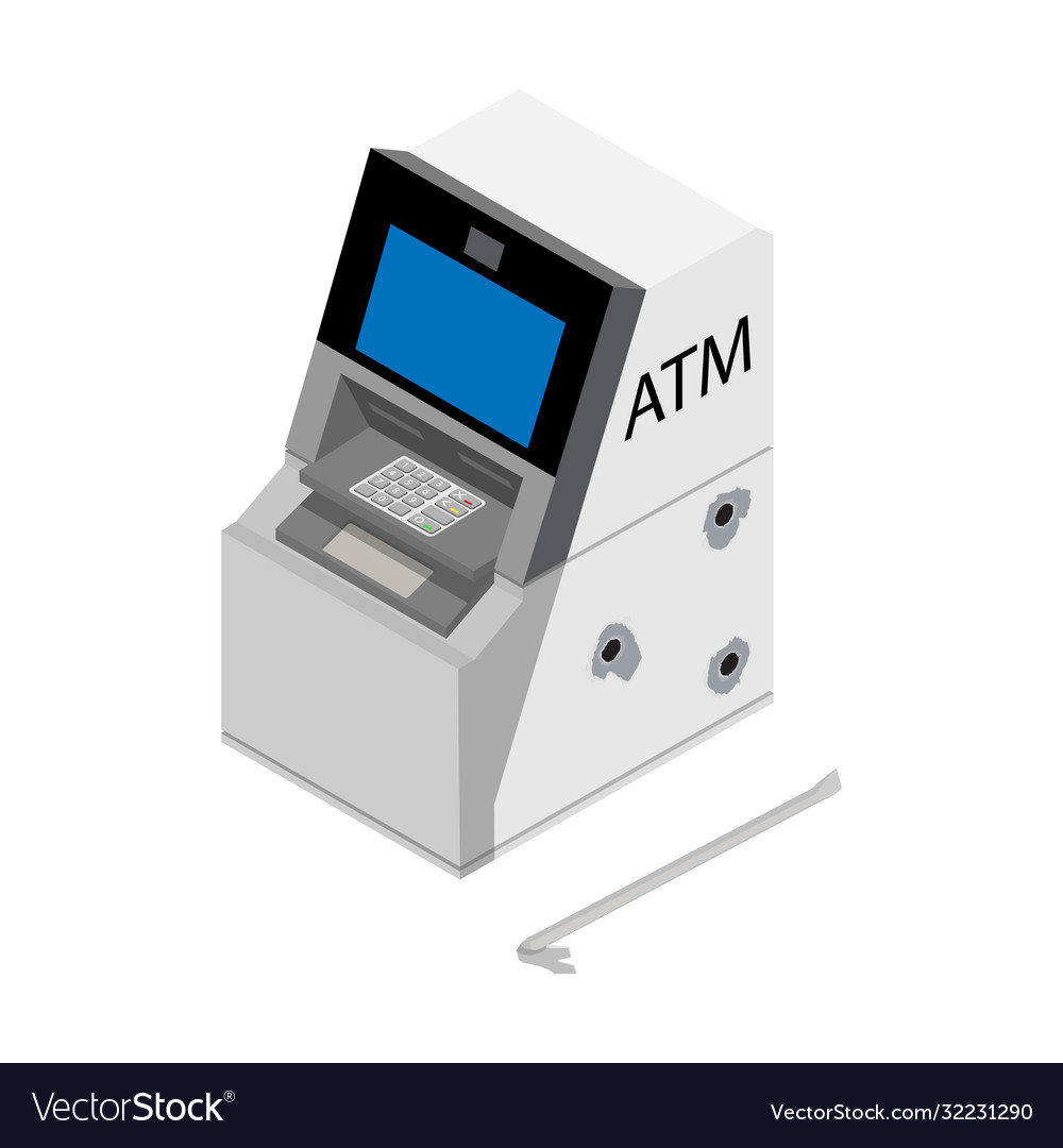 Theft concept - thief stealing money from atm