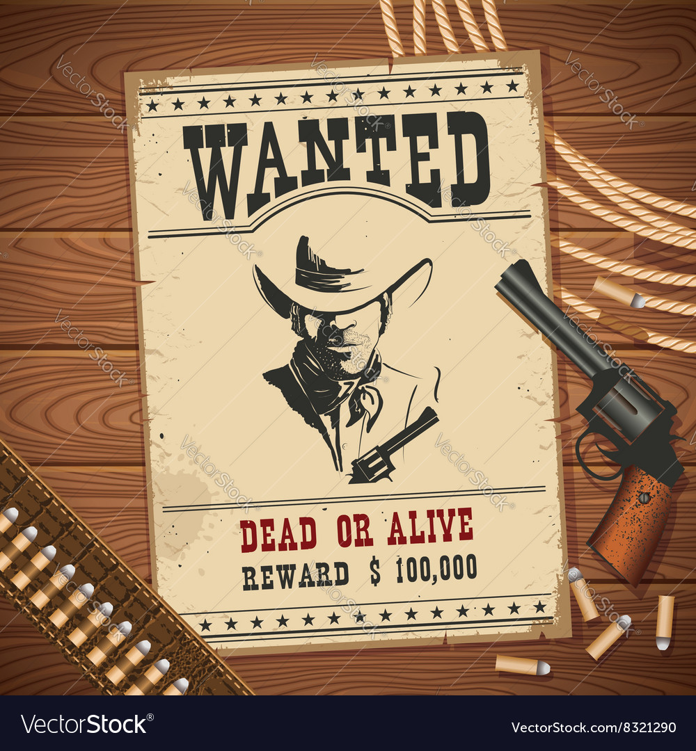 Wanted poster with cowboy objects on wood texture vector image