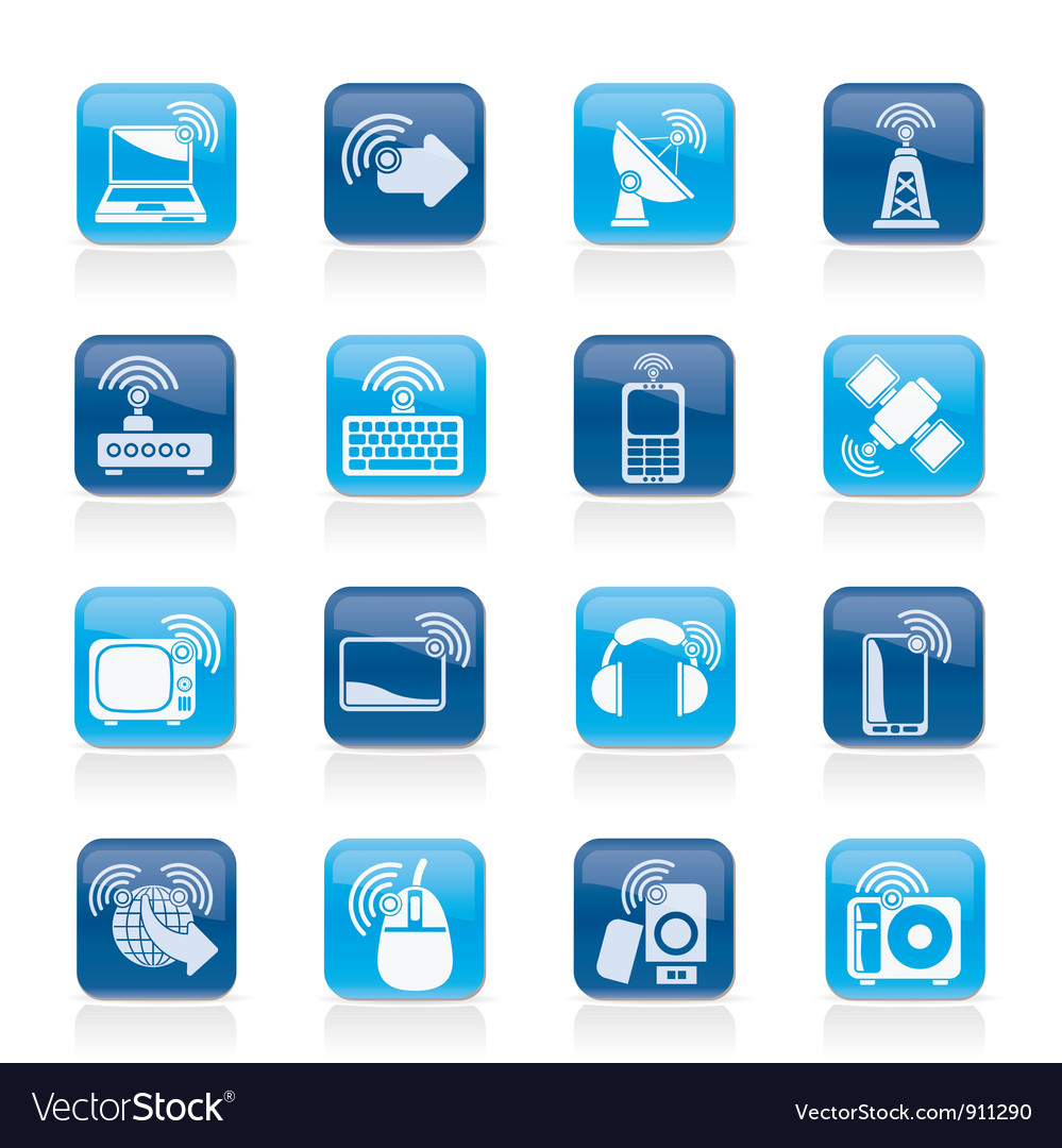 Wireless and technology icons vector image
