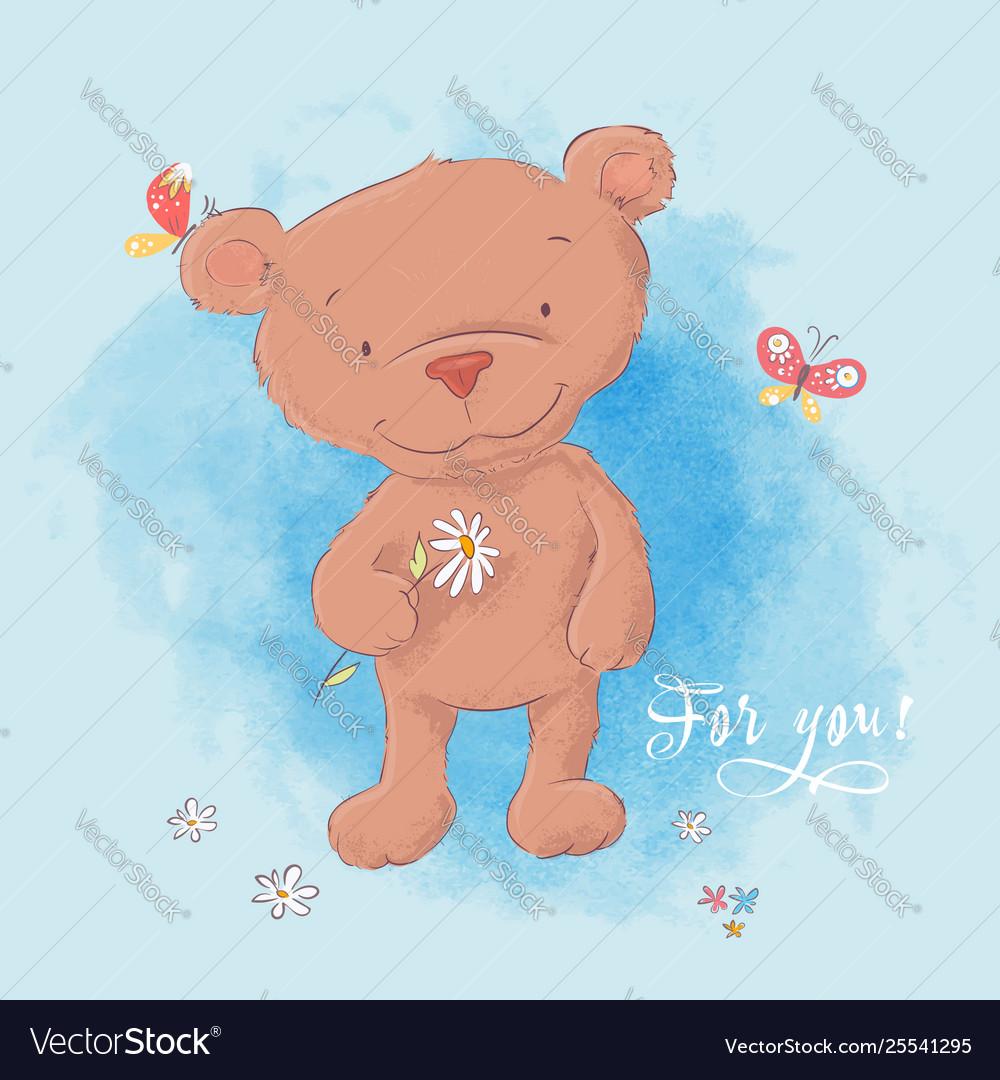 A cute bear with a camomile hand