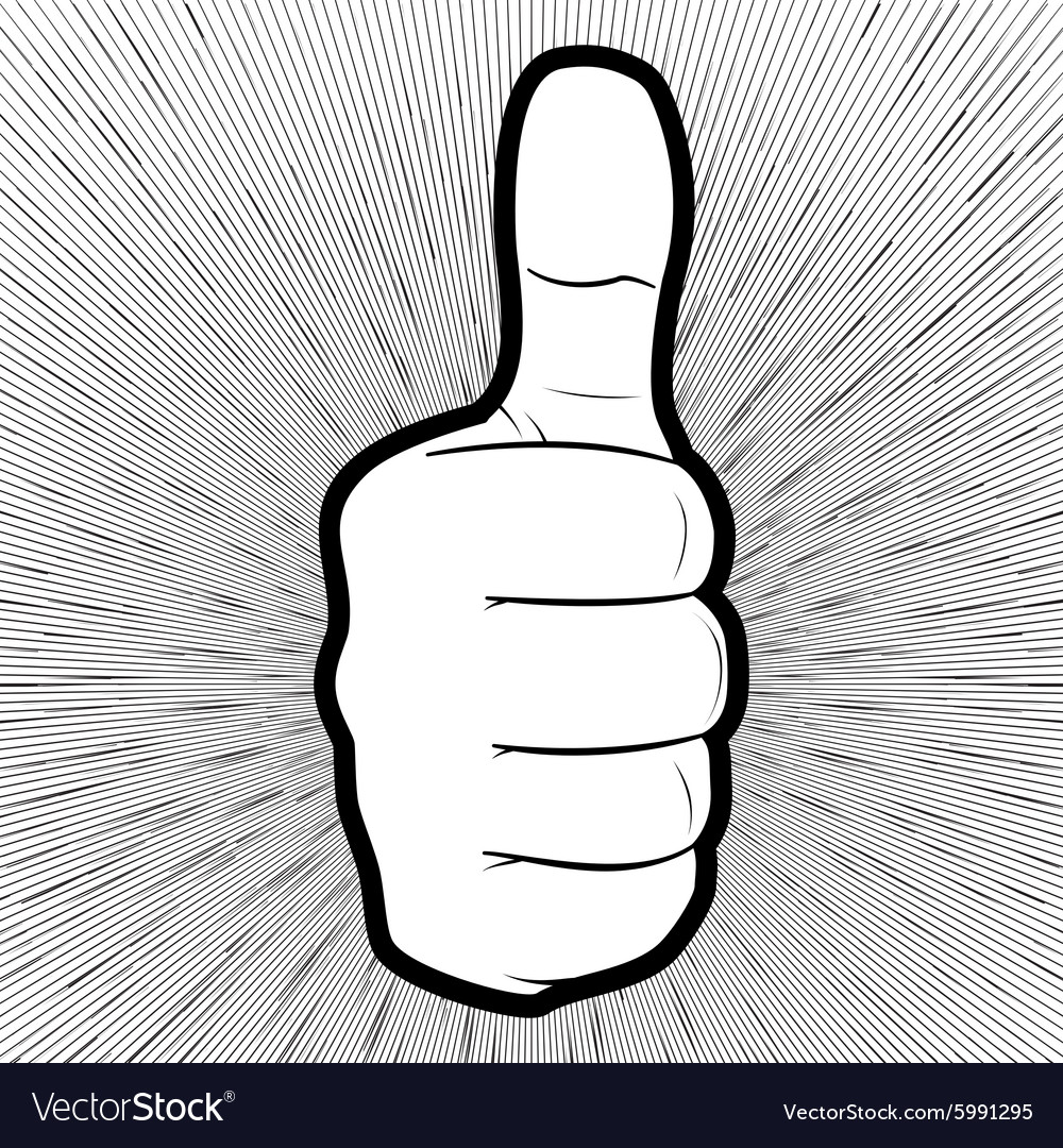 A hand showing thumbs up