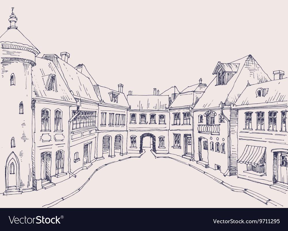 City street retro style buildings sketch urban vector image