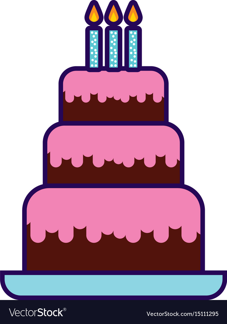 Cute Birthday Cake Cartoon Royalty Free Vector Image