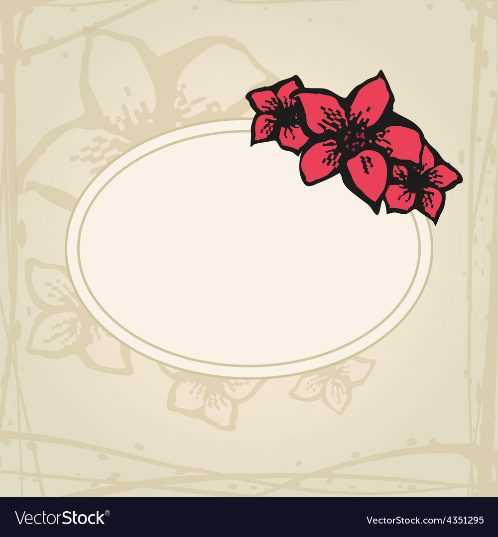 Doodling greeting card with hand drawn flowers in