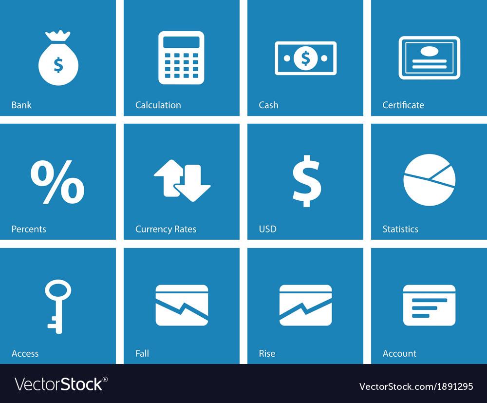 Economy icons on blue background