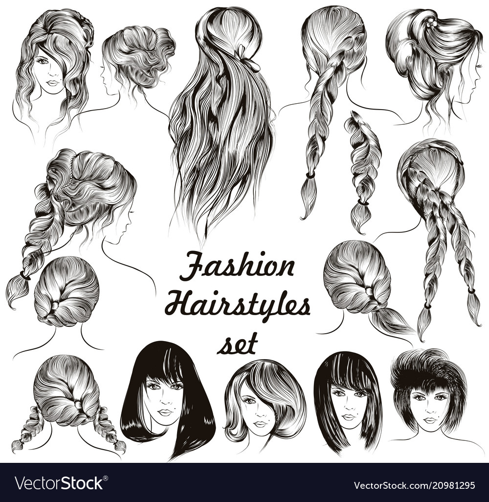 Fashion Different Female Hairstyles Set Royalty Free Vector