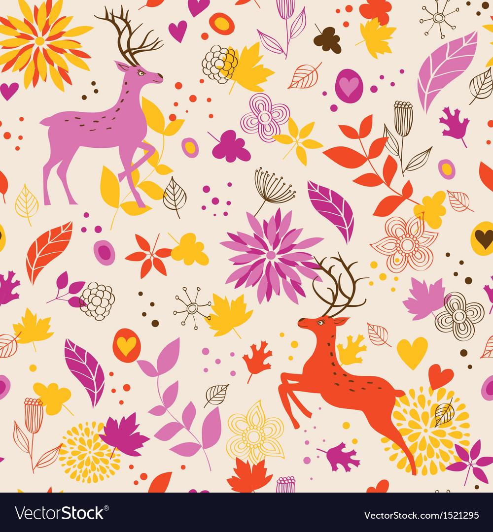 Floral background wih deer