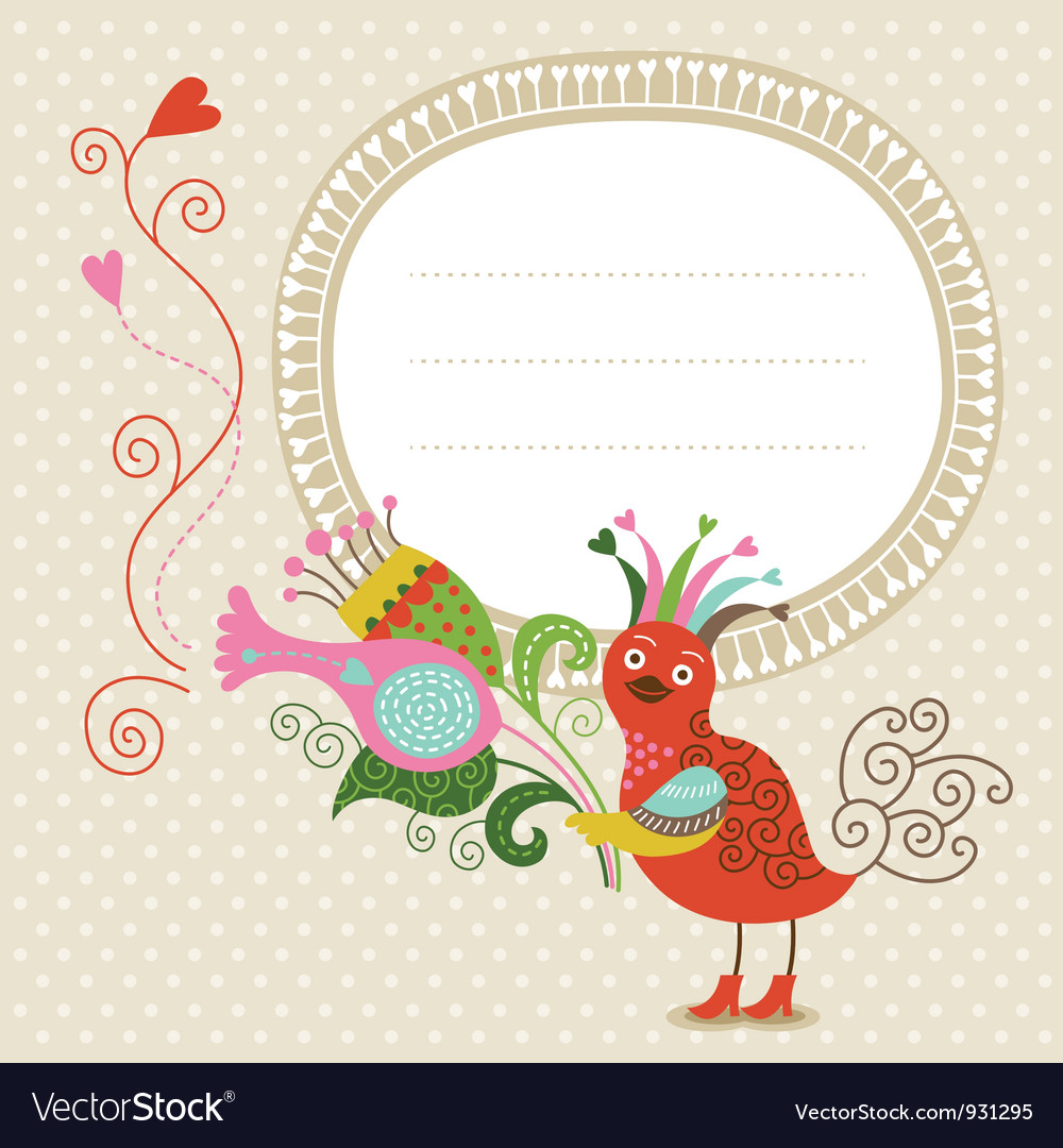 Greeting card cute bird with bouquet vector image