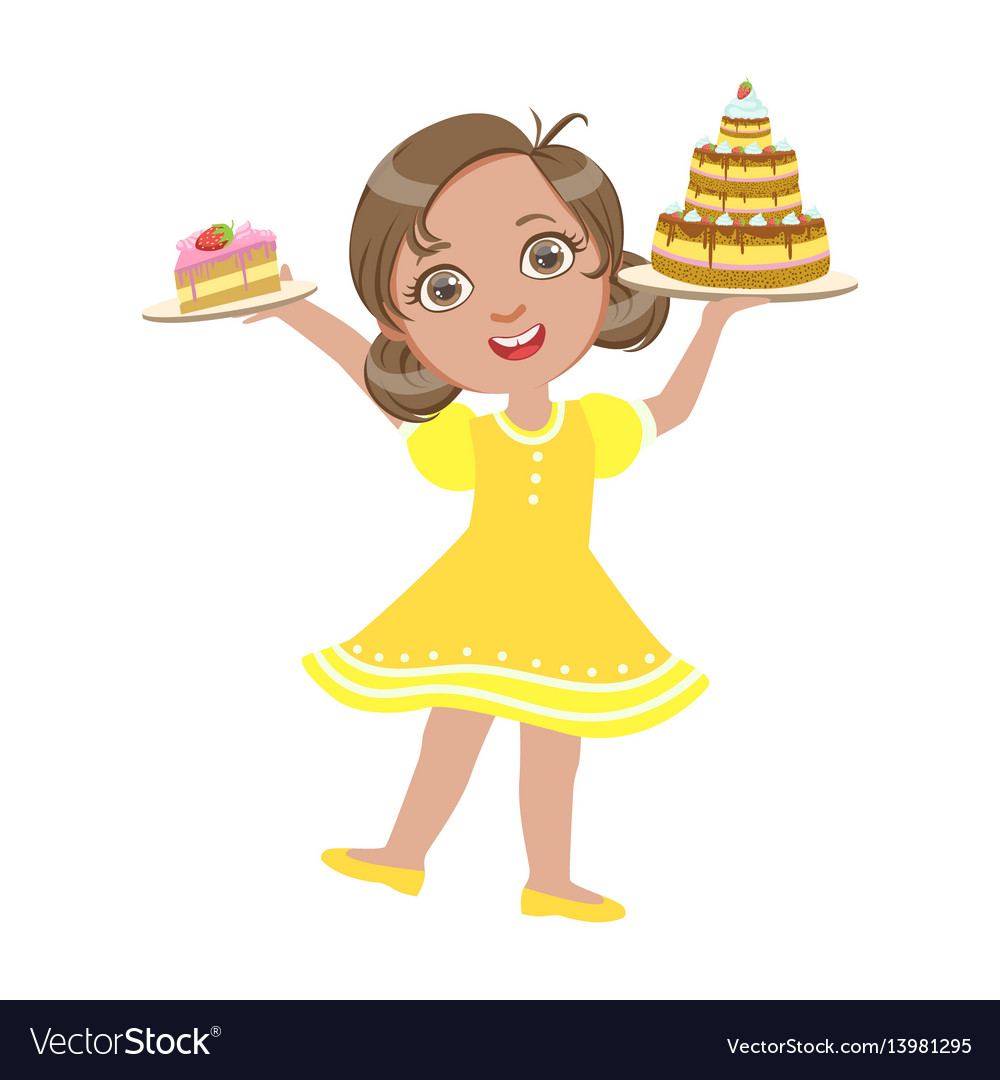 Happy girl standing with a birthday cake in her