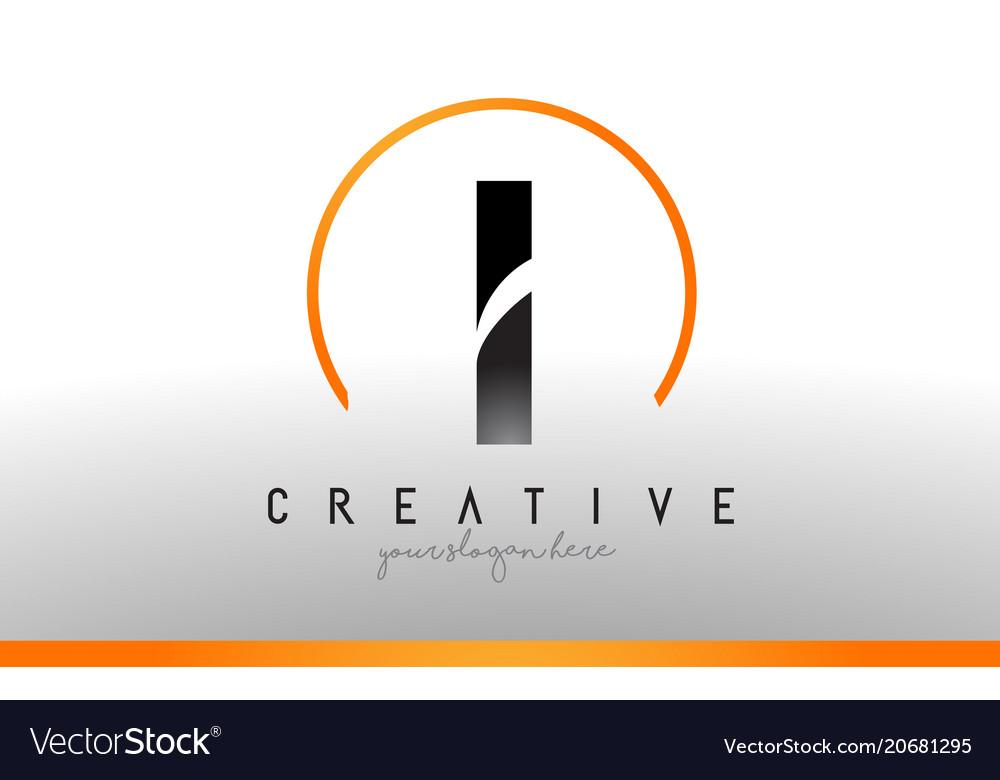 Cool Letter I Logo.I Letter Logo Design With Black Orange Color Cool