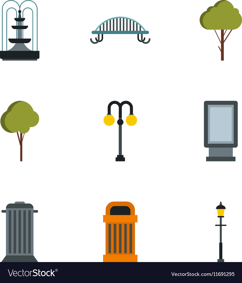 Park equipment icons set flat style vector image