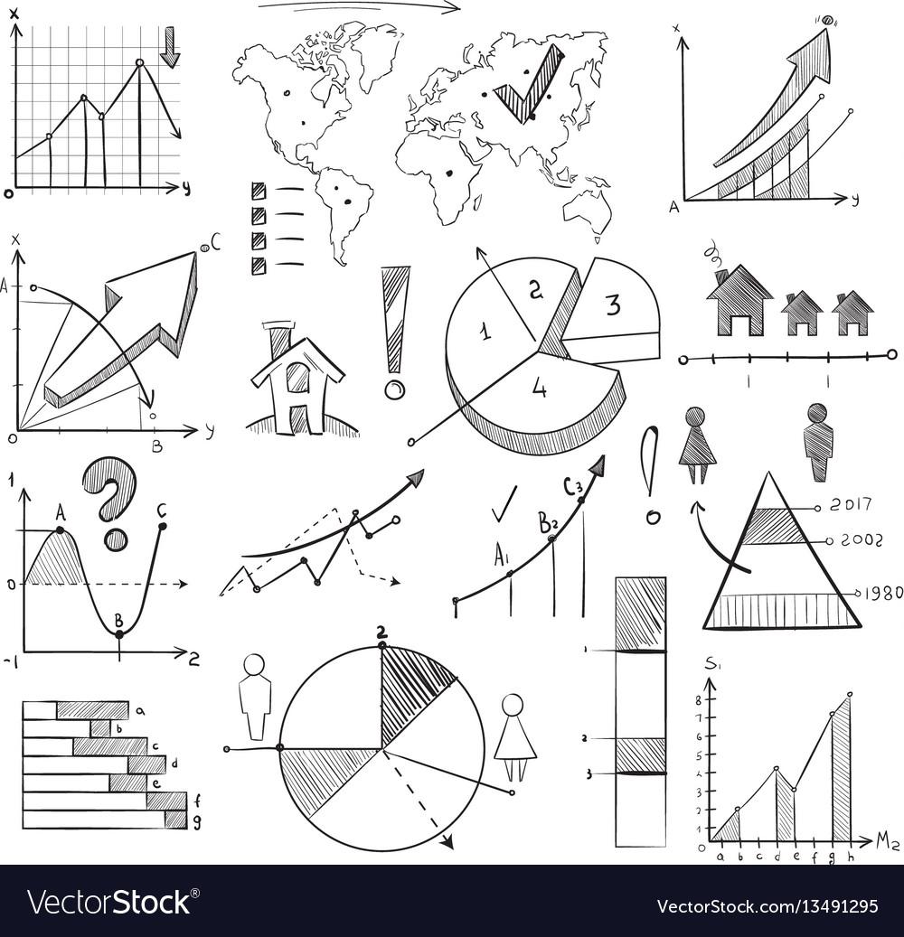 Population demography doodle infographic