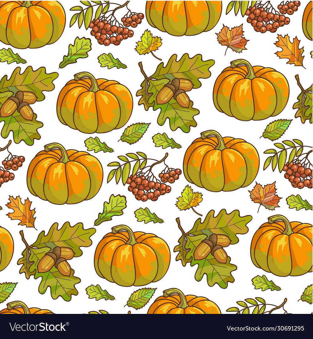 Ripe pumpkin maple leaves and rowanberry seamless