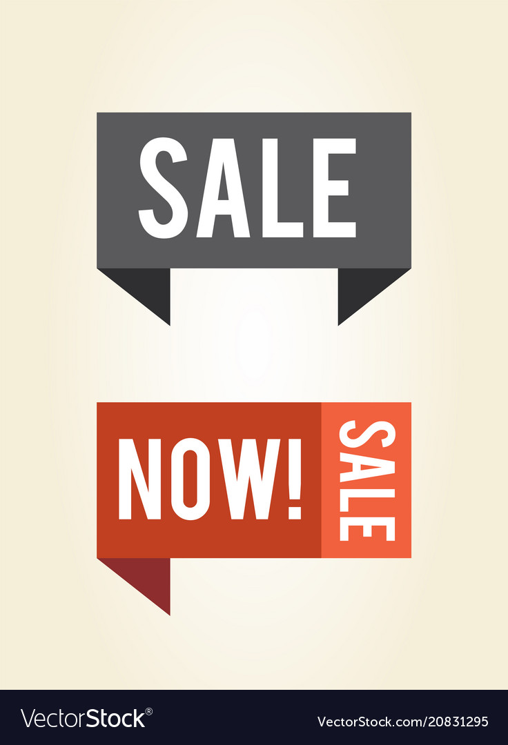 Sale now label on 3d ribbons isolated icons
