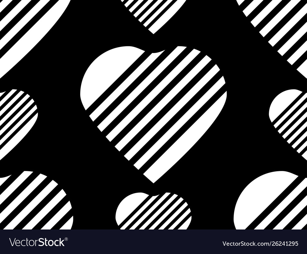 Seamless pattern with striped hearts in black and