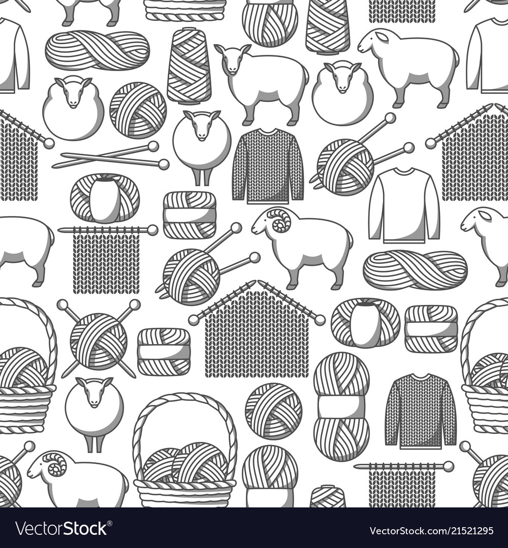 Seamless pattern with wool items goods for hand