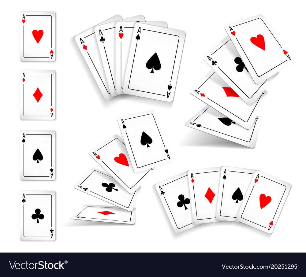 Several variants set of four aces deck of cards vector image