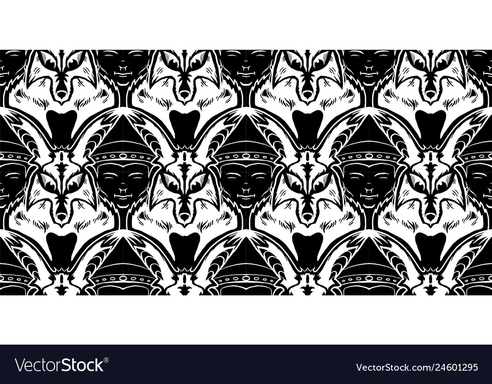 Tessellation with fox and buddha faces in black