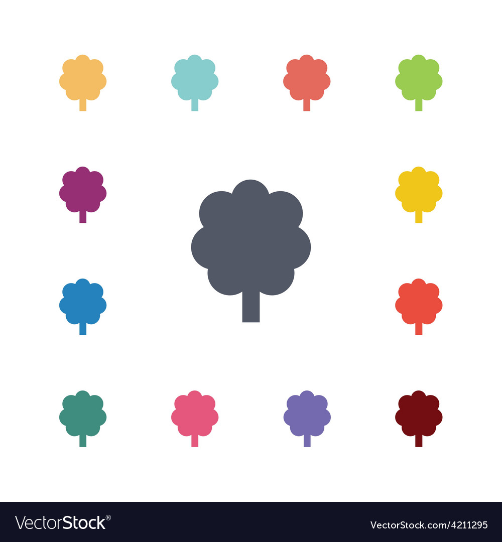 Tree flat icons set vector
