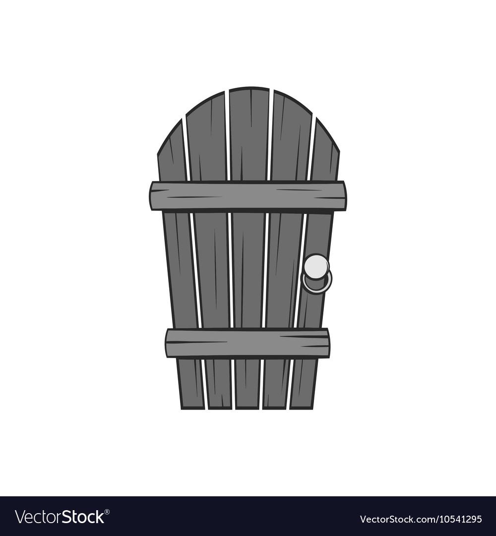 Wooden garden door icon black monochrome style