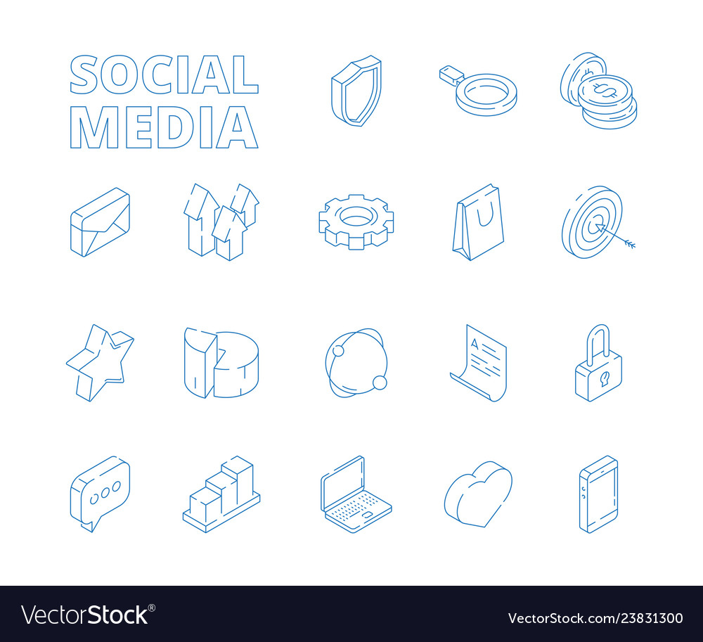 3d social media marketing isometric thin line